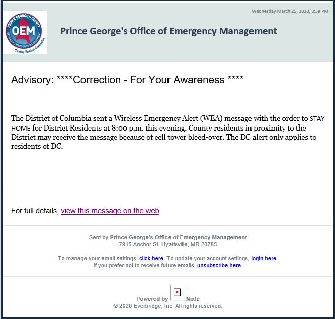 PGOEM Message Advisory